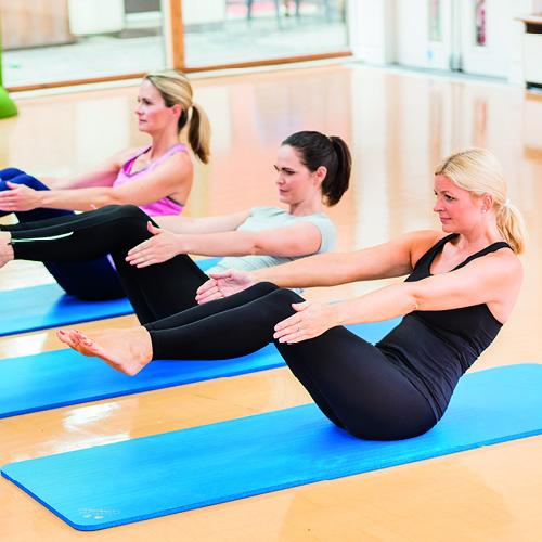 Pilates class in dance studio